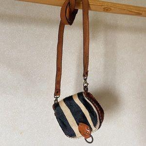VINTAGE real leather and fur handbag